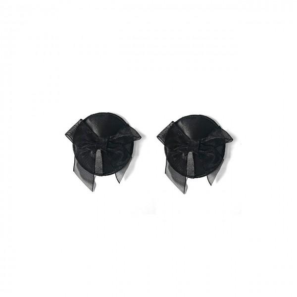 Schwarze Nipple Pasties Covers mit Schleifchen