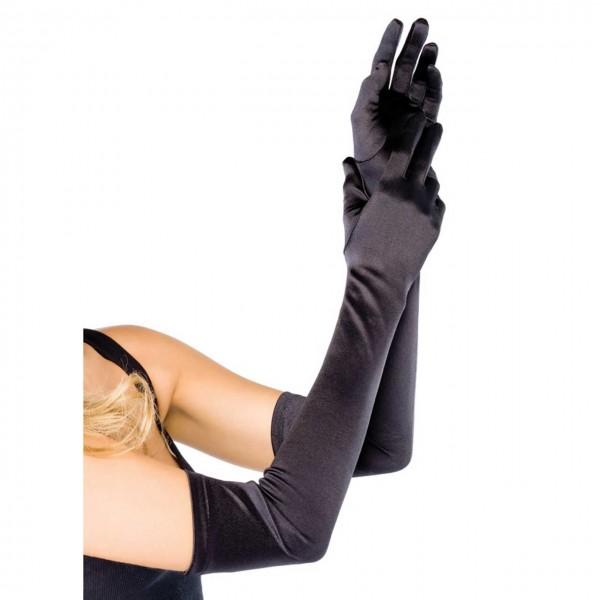Schwarze Handschuhe extra lang Leg Avenue